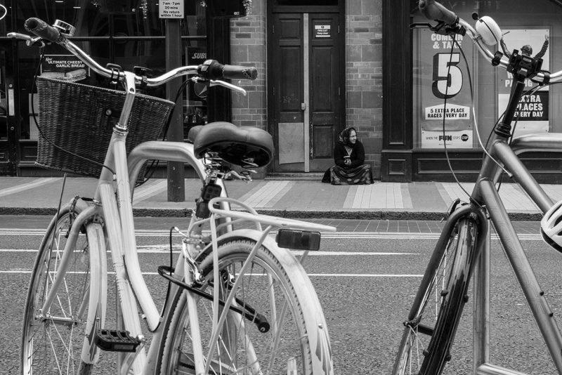 Bikes and beggar