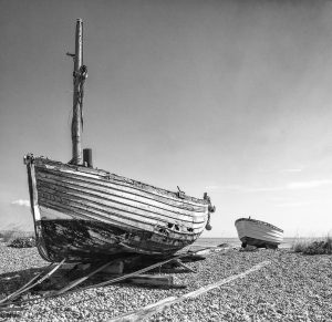 Two boats in black and white
