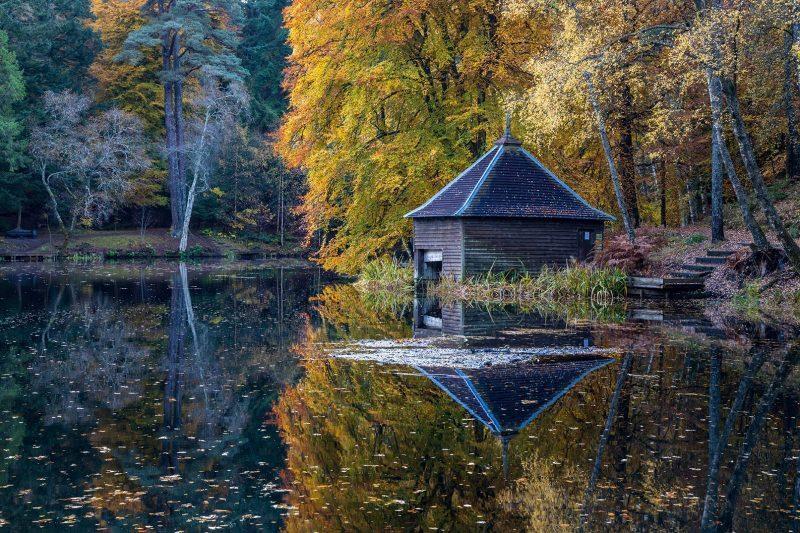Reflections of boathouse