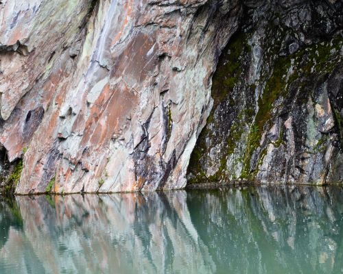 Rock Face reflected in Rydal Cave