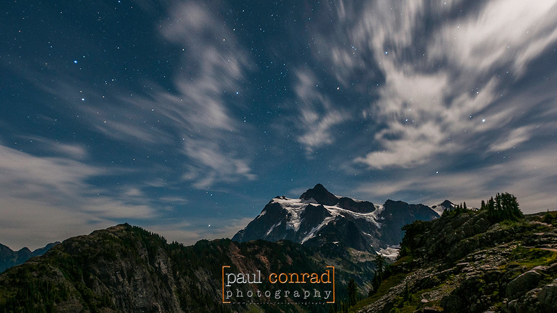 Mt. Shuksan is bathed in moonglow as stars leave trails as seen from Artist Point in the Mt. Baker-Snoqualime National Forest in western Whatcom County east of Bellingham, Wash.© Paul Conrad/Paul Conrad Photography - Rights limited to laptop/desktop computer usage only. No printing allowed.