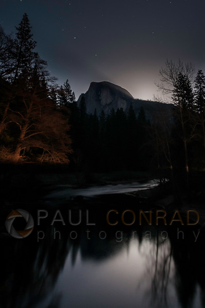 © Paul Conrad/Pablo Conrad Photography - A full Moon begins to rise near Half Dome in Yosemite Valley in Yosemite National Park, Calif., on Thursday Mar. 5, 2015.