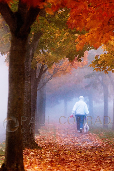 © Paul Conrad/ Pablo Conrad Photography - A woman walks her dog into the morning fog at the Boardwalk in Bellngham, Wash.