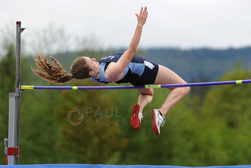 "© Paul Conrad/The Bellingham Herald - Western Washington sophomore Katelyn Wright of Washougal, Wash., clears the bar at 5' 3.75"" to win the Women's High Jump during the 2014 Ralph Vernacchia Track and Field Meet at Civic Field in Bellingham, Wash., on Saturday April 26, 2014."