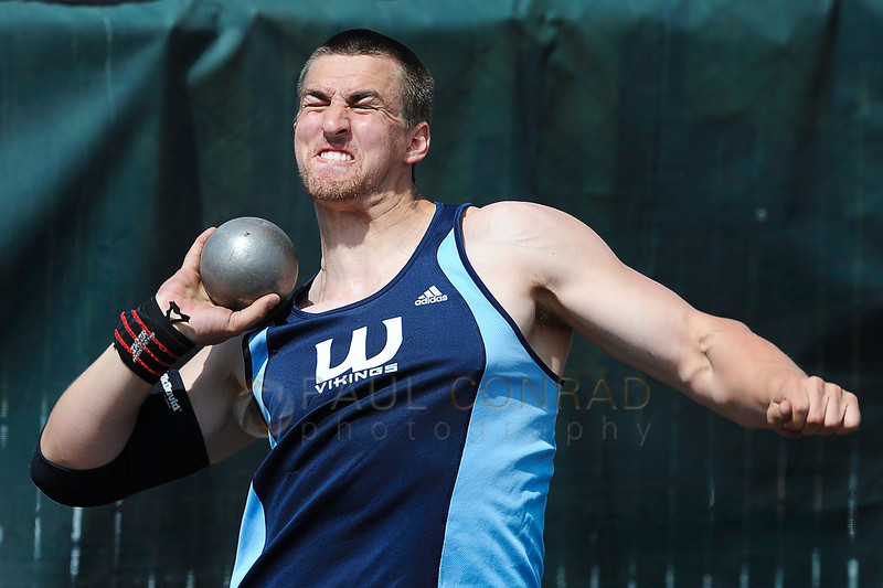 © Paul Conrad/The Bellingham Herald - Western Washington University  junior Ryan McDonald of Bellingham, Wash., hoists the shot put during the men's competition at the 2014 Ralph Vernacchia Track and Field Meet at Civic Field in Bellingham, Wash., on Saturday April 26, 2014. McDonald had a best distance of 44 feet, 7 and a half inches earning him 13th place.