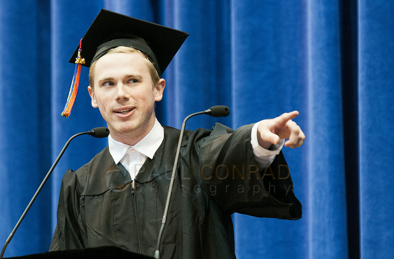 © Paul Conrad/The Bellingham Herald - Graduating senior Brian O'Sullivan gives the student address during commencement services for graduating Western Washington University students in Carver Gymnasium at Western Washington University  on Saturday  morning June 14, 2014, in Bellingham, Wash.
