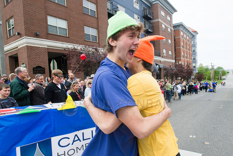 © Paul Conrad/The Bellingham Herald - Team Fairhaven Toy Garden members Dante Koplovitz-Fleming, left, and Colin Bigalow, give each other a celebratory hug after winning the Piano Race during the 13th annual Dirty Dan Harris Festival at the Fairhaven Village Green in Fairhaven, Wash., on Sunday April 26, 2015. Hundreds enjoyed the festivities which included a donut eating contest, live music from the JP Falcon Band, piano race, chili cook off, salmon tossing contest, as well as many local vendors.