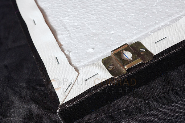 © Paul Conrad - The back of the Canvas Champ print showing the exposed foam insert, staples, and mounting hardware.