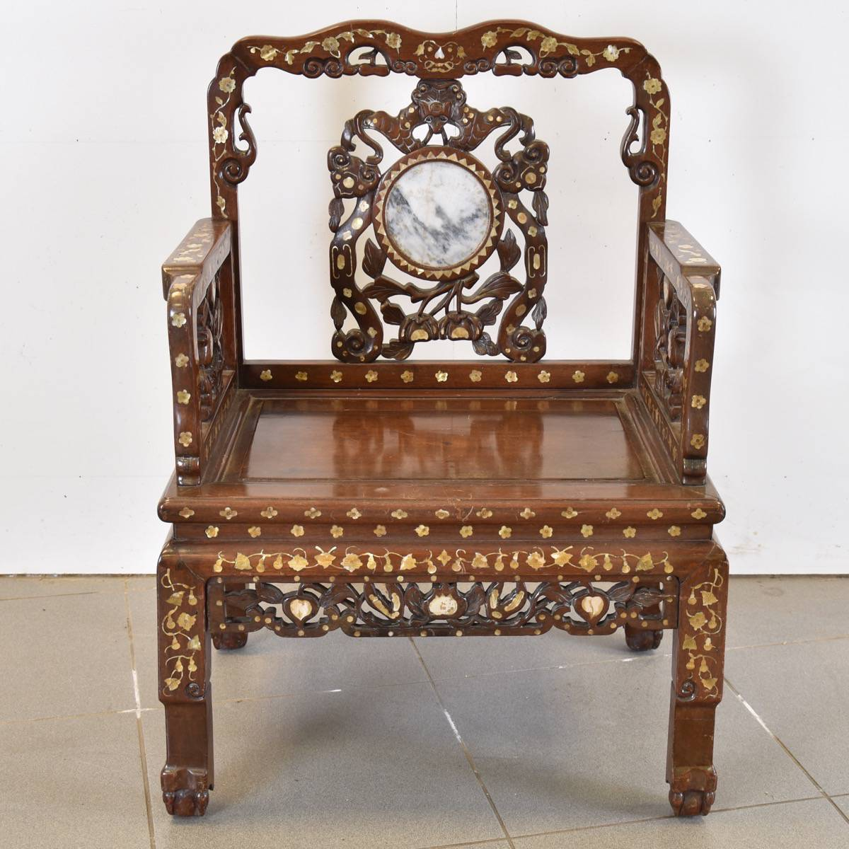 stool chair in chinese garage with wheels pair of inlaid chairs marble inset