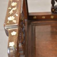 Pair of Inlaid Chinese Chairs with marble inset