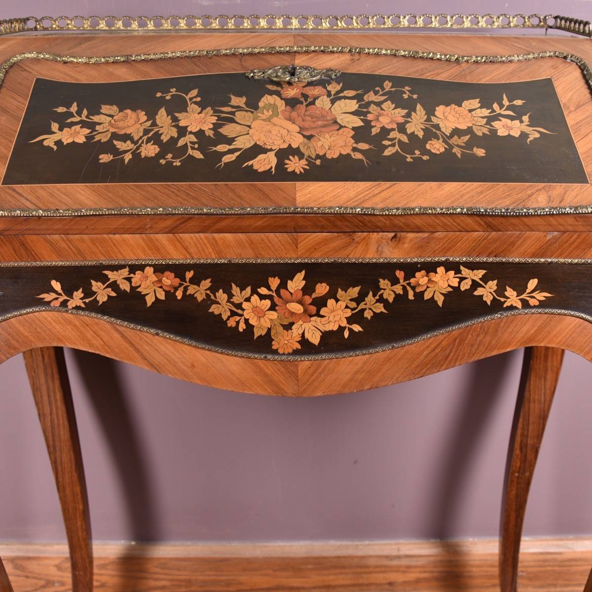 Elegant Antique French Marquetry Bureau