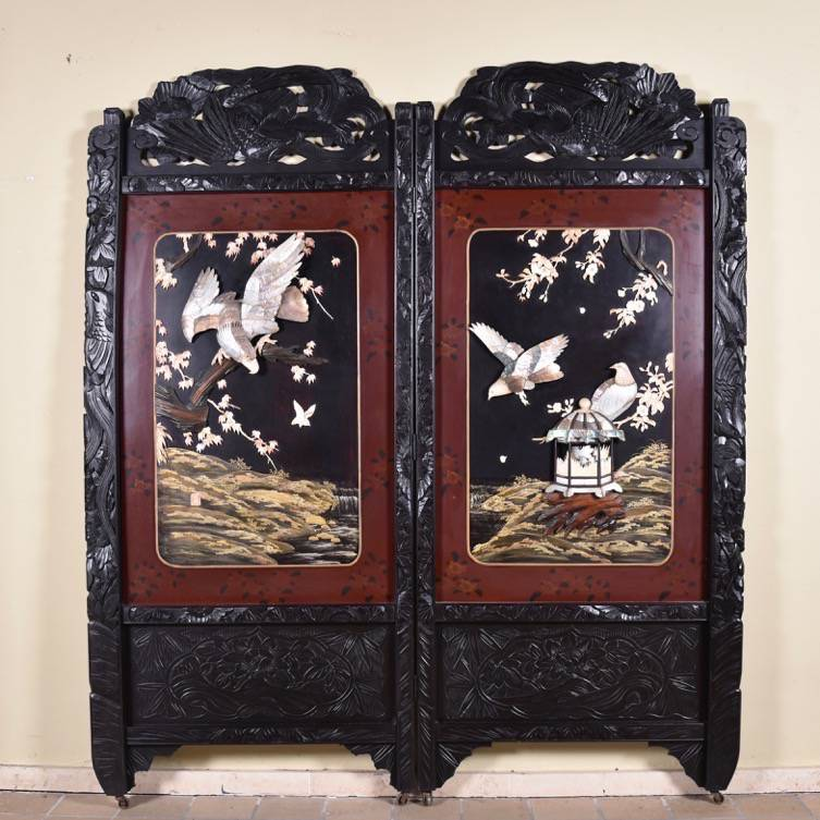 Oriental carved TwoPanel Screen or Paravent