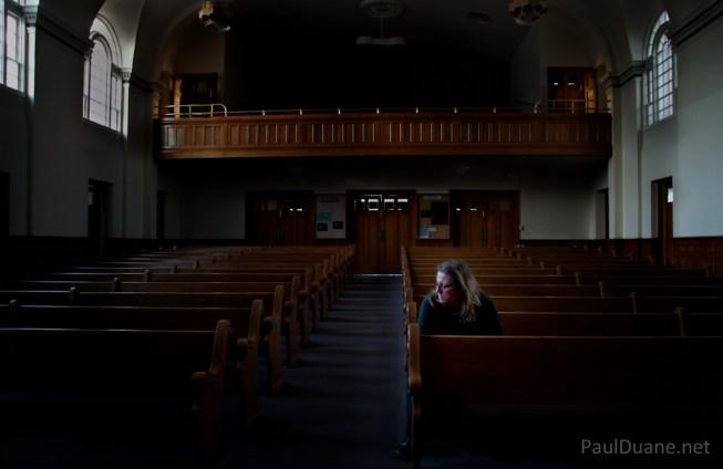 Paul Duane's self portrait in the Logan 2nd Ward LDS chapel