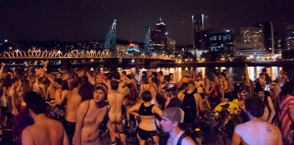 World Naked Bike Ride afterparty on the bank of the Williamette in Portland