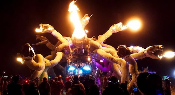 fire breathing medusa head at burning man
