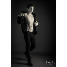 black and white male model shirtless