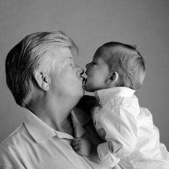 black and white grandpa and child funny portrait