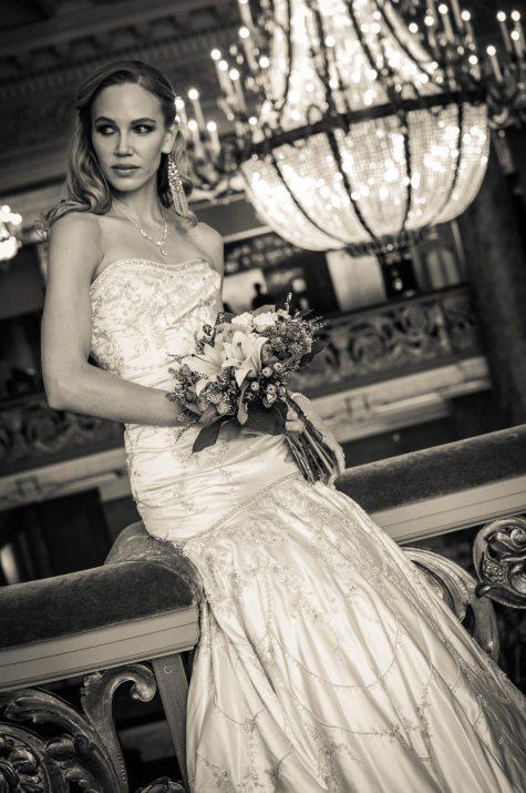 black and white bridal portrait salt lake city