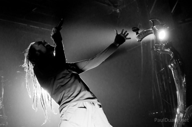Jonathan Davis of Korn, black and white concert photo