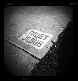 Holga black and white trust jesus street photography