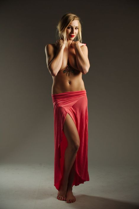 Kendra Sunderland, The Library Girl in a red sarong