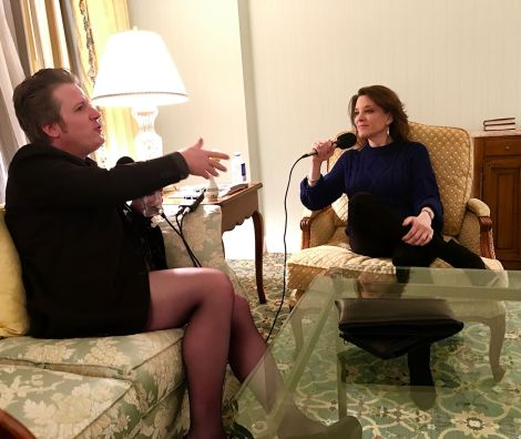Author Marianne Wiliamson being interviewed by Paul Duane, The CrossDressing Mormon Anarchist