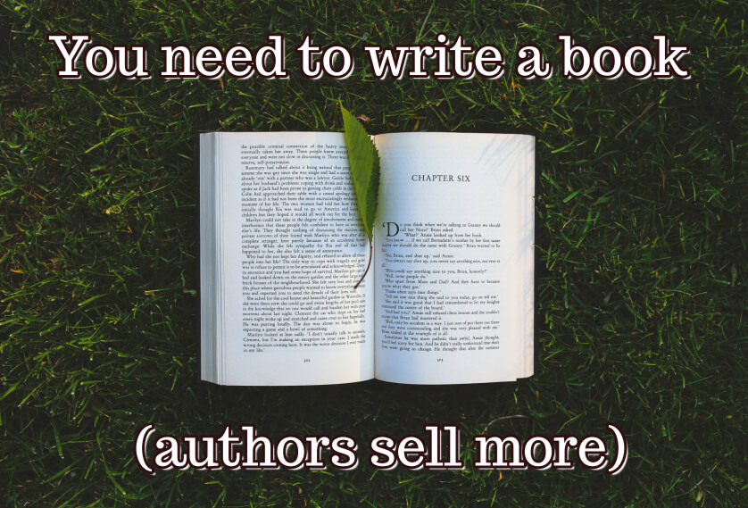You need to write a book (authors sell more)