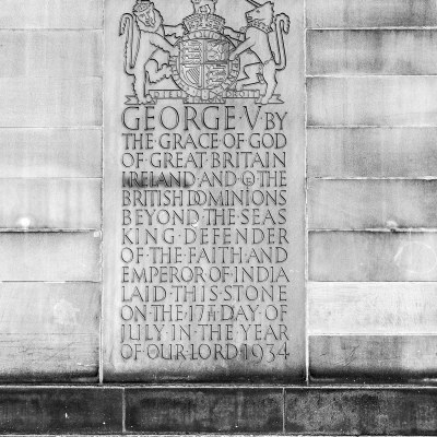 George V Manchester Foundation Stone Detail Urban Black and White Manchester Landscapes Architecture