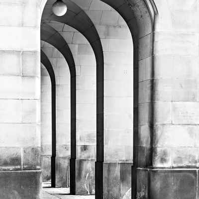 Manchester Town Hall Arches, Black & White Landscape Print Manchester Landscapes Arches