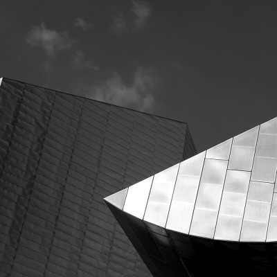 The Lowry Arts Centre, a black and white photograph Manchester Landscapes Architecture