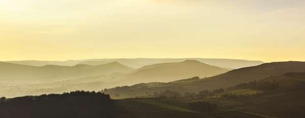 Hope Valley Landscape Panorama, Canvas Print Panoramic Landscapes Canvas