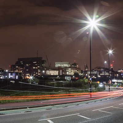 Manchester Skyline At Night, Colour Canvas Panoramic Landscapes Canvas