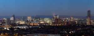 Manchester Skyline Panorama At Dusk, Canvas Panoramic Landscapes Canvas
