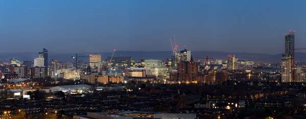 Manchester City Skyline Panorama At Dusk, Canvas Print Panoramic Landscapes Canvas