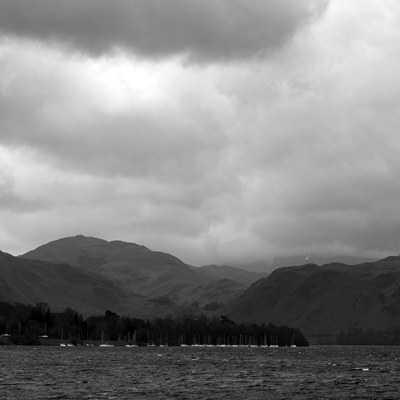 Ullswater & Hallin Fell, Panoramic Canvas Panoramic Landscapes Black and White