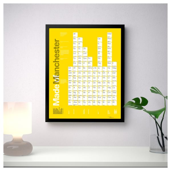 Made of Manchester Periodic Table A3+ Framed Poster Art and Gift Ideas A3 3