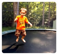 Daniel's first time on a trampoline
