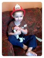 Grandma brought Daniel A Fireman hat