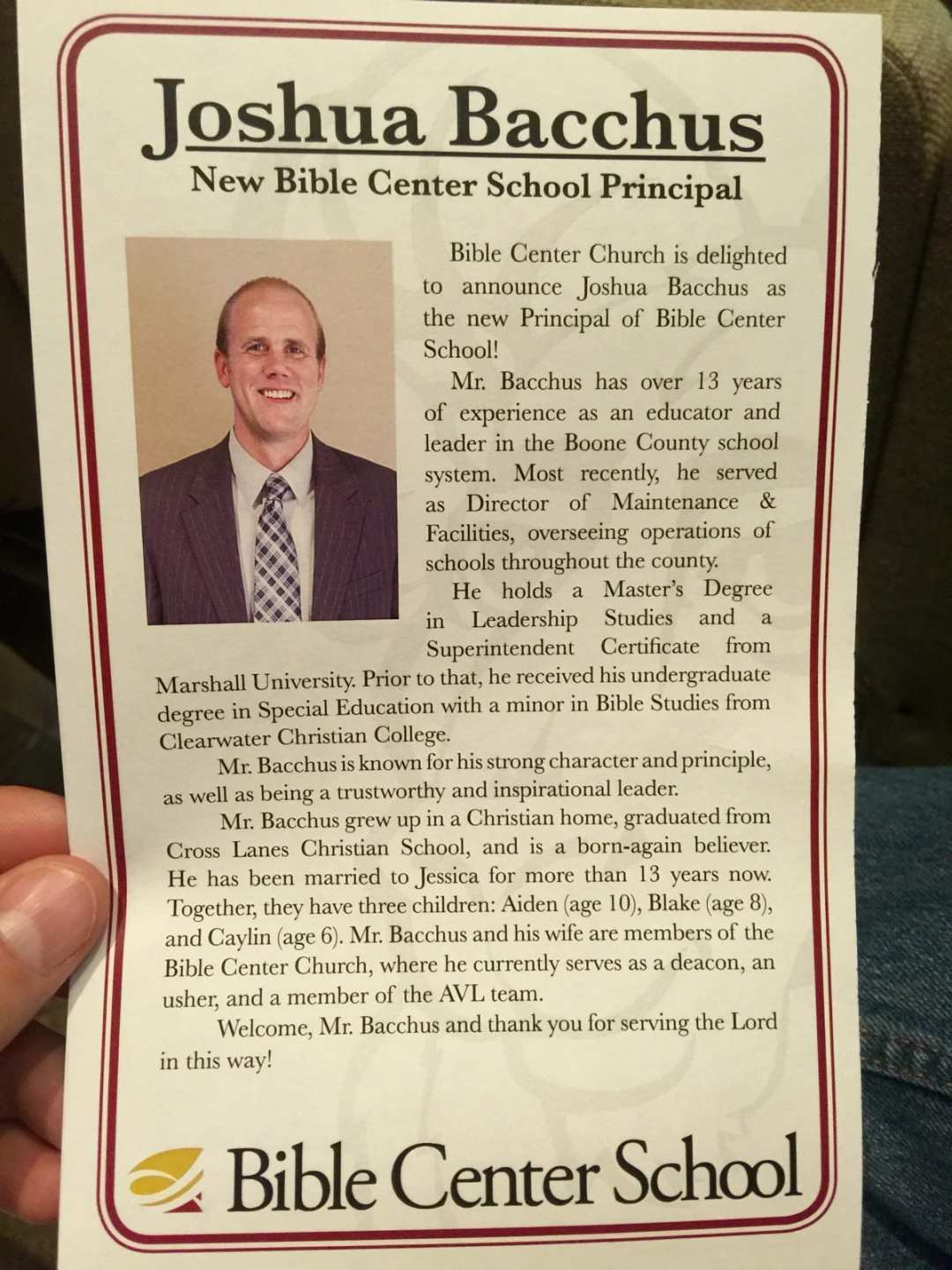 Excited to welcome Bible Center School's New Principal Josh Bacchus
