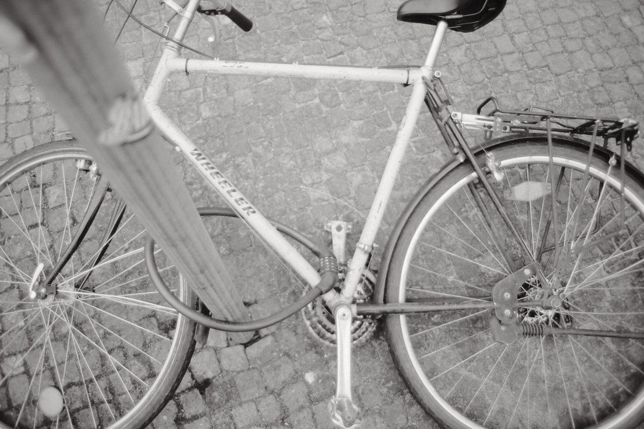 bike fallen down on the pavement