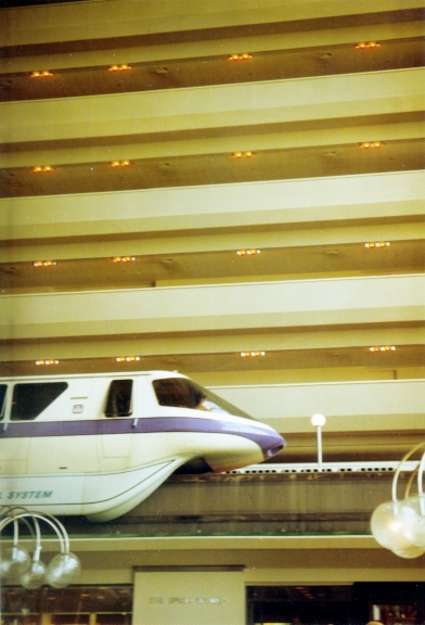 Monorail going through the Contemporary Resort