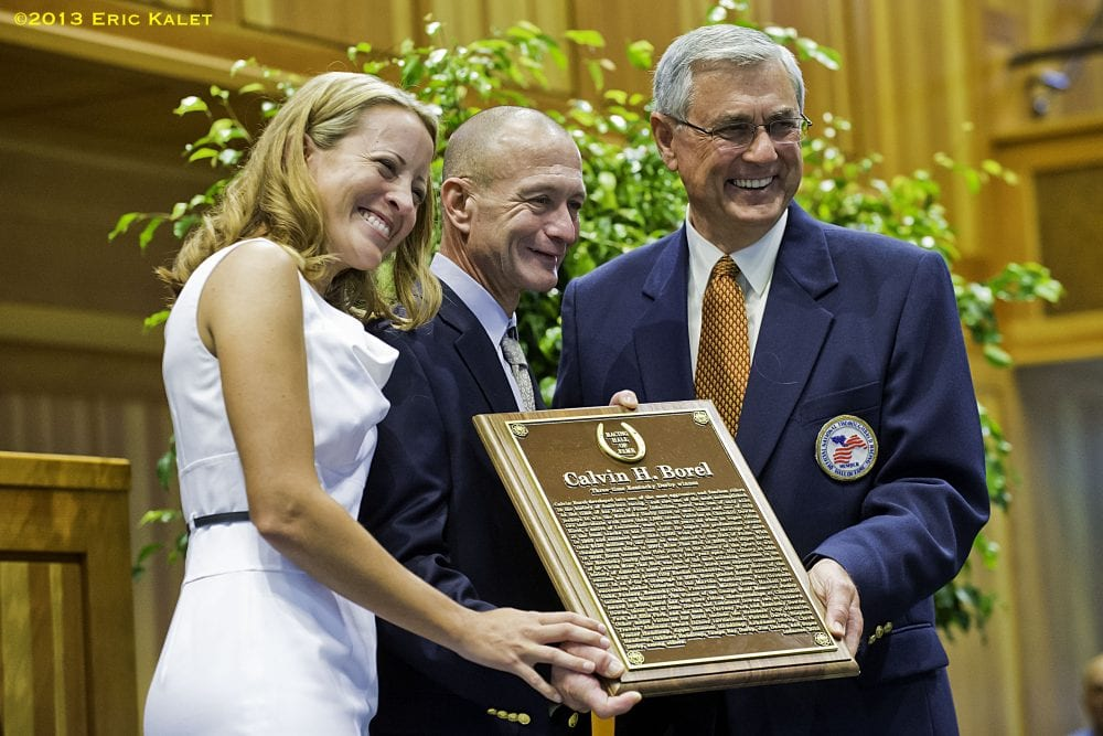 Lisa and Calvin Borel with Carl Nafzger at the 2013 Hall of Fame induction ceremony