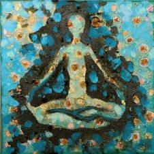 medytacja -technika mieszana na płótnie 20x20cm