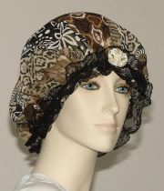 abstract print chiffon hair bonnet
