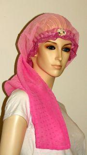 gradient pink sheer long hair bonnet