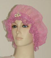 gradient pink sheer hair bonnet
