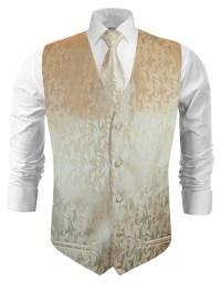 Wedding vest with necktie cappuccino floral v42 - Paul ...
