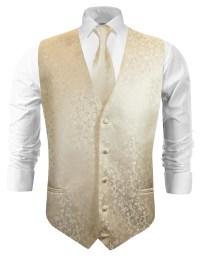 Wedding vest with necktie champagne floral v18 - Paul ...