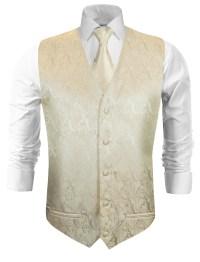 Wedding vest with necktie cream paisley v26 - Paul Malone Shop