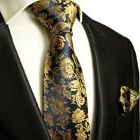 Schwarz blau goldene Krawatten Set 2tlg Seidenkrawatte ...